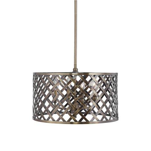 Uttermost Grata 4 Light Brass Latticework Pendant