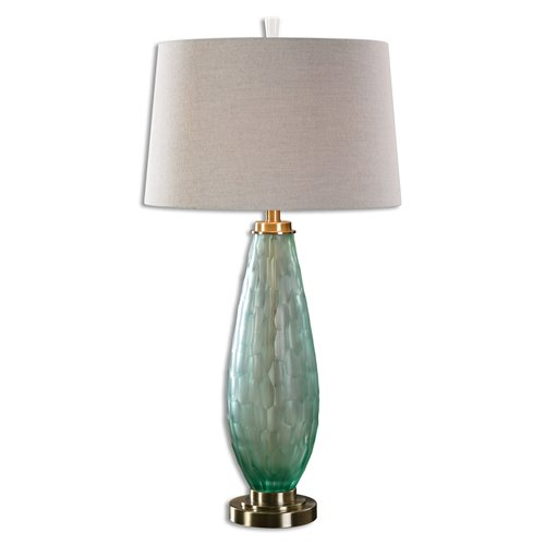 Uttermost Lenado Sea Green Glass Table Lamp