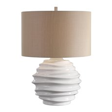 Uttermost Gisasa Crackled White Lamp