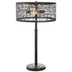 Uttermost Alita Black Drum Shade Lamp