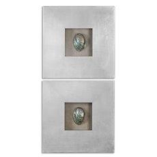 Uttermost Abalone Shells Silver Wall Art, S/2
