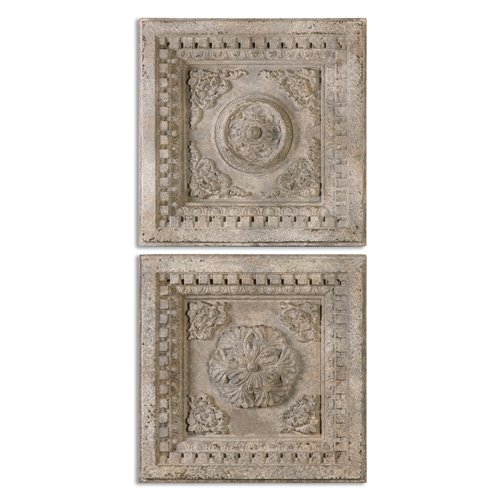 Uttermost Auronzo Aged Ivory Squares, S/2