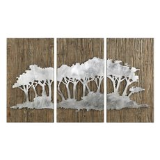 Uttermost Safari Views Silver Wall Art S/3