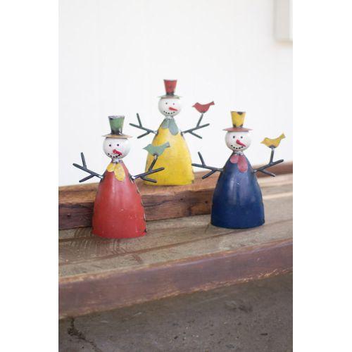 Recycled Metal Snowmen Set of 3