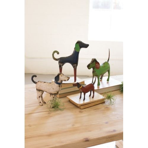 Recycled Painted Iron Dogs Set of 4