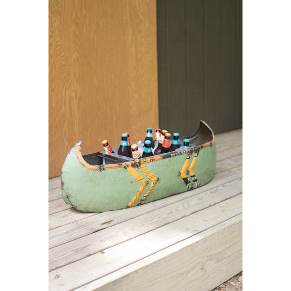 Reclaimed Metal Canoe Planter And Cooler