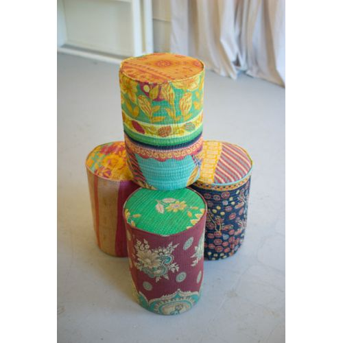 Kantha Covered Metal Stools