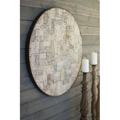 Recycled Block Print Round Wall Panel with Rustic Iron Frame