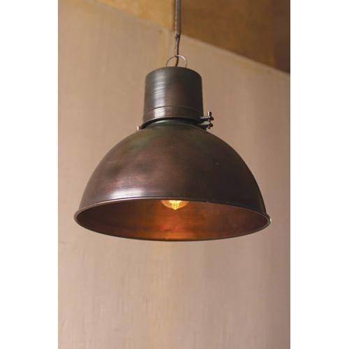 Metal Hanging Pend Lamp With Green Patina