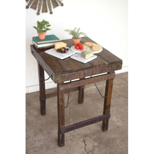 Wooden Side Table With Folding Legs