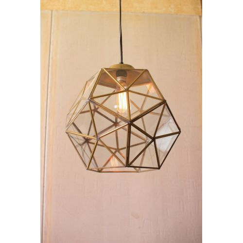 Glass And Gold Metal Faceted Pendant
