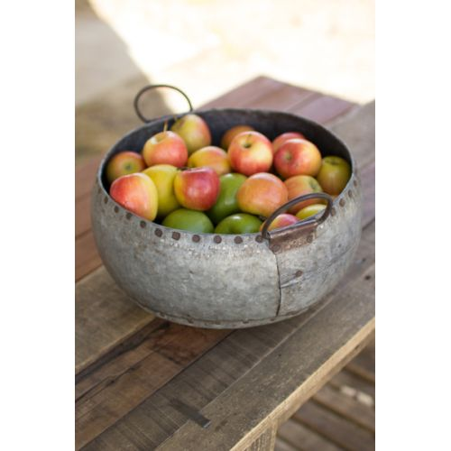 Reclaimed Metal Bowl With Handles