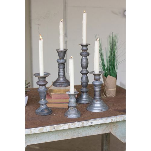 Zinc Candle Holders With Brass Detail Set of 5