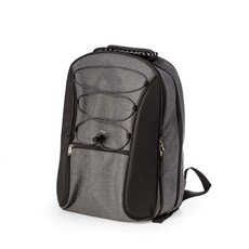 Black and Gray 4 Person Poly Canvas Picnic Backpack with Plastic Lined Cooler Compartment