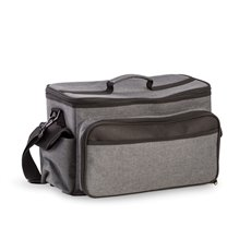 Black and Gray Poly Canvas BBQ Bag with Plastic Lined Cooler Compartment