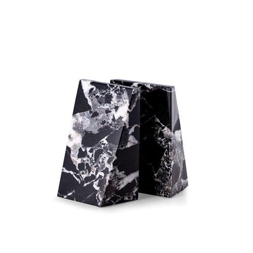 Black Zebra Marble Wedge Bookends