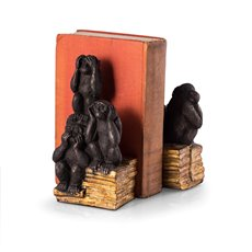 Resin Cast Hear, Speak and See No Evil Monkey Bookends
