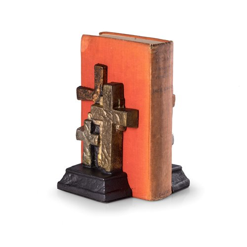 Cast Metal Cross Bookends with Bronzed Finish