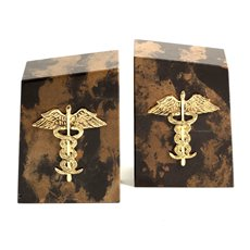 Tiger Eye Marble Bookends with Gold Plated Medical Emblem