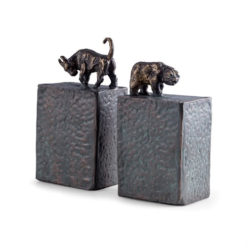 Bull and Bear Bookends, Metal Cast with a Patina Finish