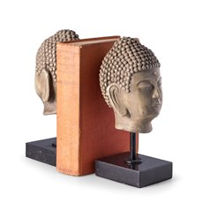 Resin Cast Buddha Head Bookends On Marble Base
