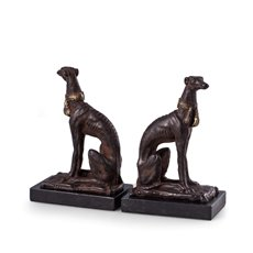 Cast Metal Whippet Bookends with a Patina Finish on Marble Base