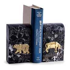 Black Zebra Marble Bookends with Antique Gold Plated Stock Market Emblem