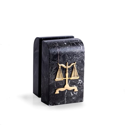 Black Zebra Marble Bookends with Antique Gold Plated Legal Emblem