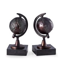 Cast Metal Revolving Globe Bookends with Bronzed Finish on Black Marble Base
