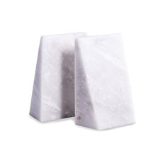 White Marble Wedge Bookends