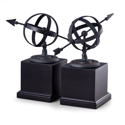 Cast Metal Sundial Bookends with Verdigris Finish on Black Wood Base