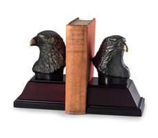 Cast Metal Eagle Bookends with Bronzed Finish on Burl and Black Wood Base