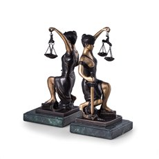Bronze Kneeling Lady Justice Bookends on Green Marble Base