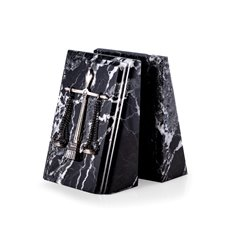 Beveled Black Zebra Marble Bookends with Antique Silver Plated Legal Emblem