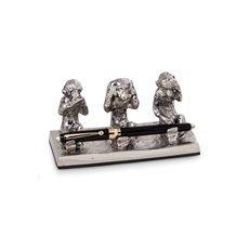 Antique Silver Plated See, Hear and Speak No Evil Monkey Pen Holder