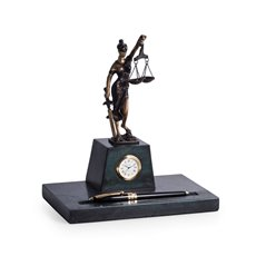 Bronze Finished Lady Justice Sculpture on Green Marble with Pen Holder and Quartz Clock