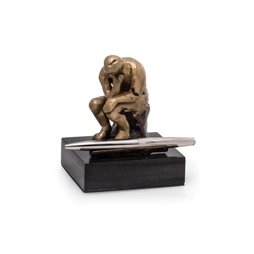 Bronze Finished Thinker Pen Holder on Black Marble Base