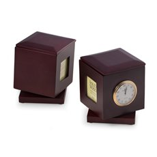Rosewood Rotating Pen Box with Two 2x2 Frames, Quartz Clock and Personalization 2x2 1/4 Brass Plate