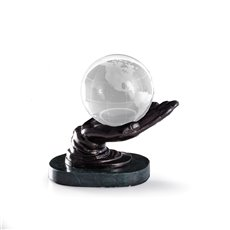 Cast Metal Hand Ball Holder with Bronzed Finish on Green Marble Base