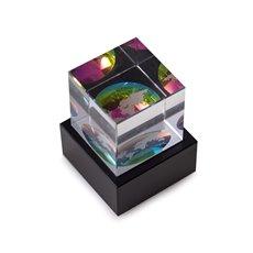 Globe Etched Crystal Cube on Black Marble Base