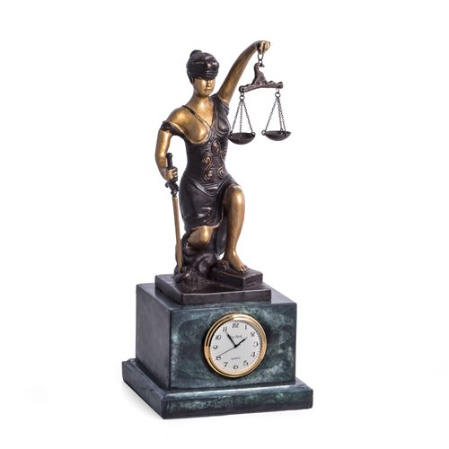 Bronze Kneeling Lady Justice with Quartz Clock on Green Marble Base