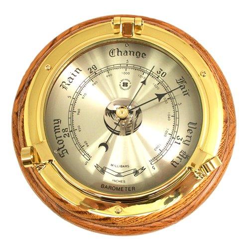Lacquered Brass Porthole Barometer on Oak Wood