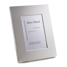Silver Plated with Checkered Design 4x6 Picture Frame with Easel Back