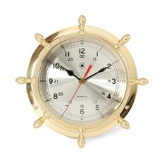 Lacquered Brass Ship's Wheel Quartz Clock with Beveled Glass