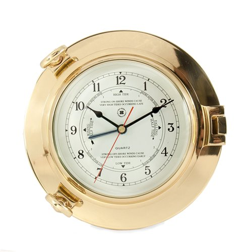 Lacquered Brass Porthole Tide and Time Quartz Clock with Beveled Glass