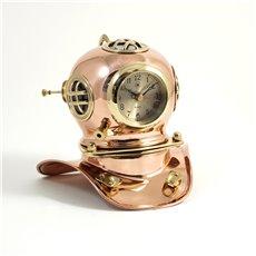 Copper and Brass Diver's Helmet with Quartz Clock