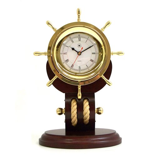 Lacquered Brass Ships Wheel Quartz Clock with Beveled Glass and Fisherman's Rope on Solid Teakwood Base