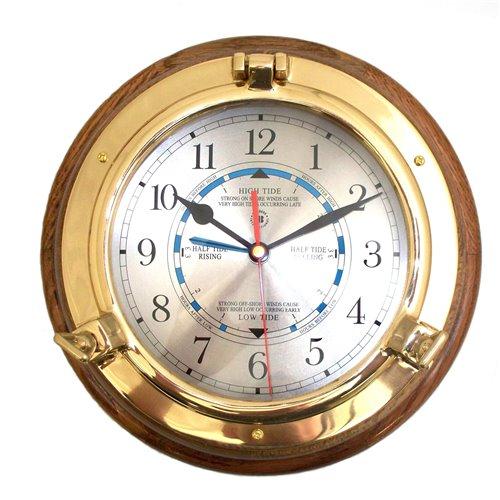 Lacquered Brass Porthole Tide and Time Quartz Clock on Oak Wood
