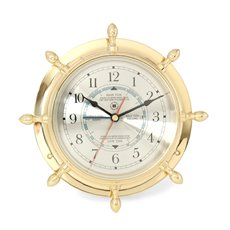 Lacquered Brass Ship's Wheel Tide and Time Quartz Clock with Beveled Glass