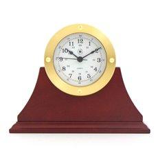 Gold Tone Round Quartz Clock on Mahogany Base